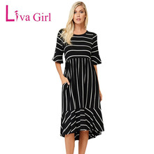 Liva Girl Autumn Black White Striped Half Bell Sleeve Hi-low Midi Dress Women Casual Wear Work Business Bodycon Dresses Female