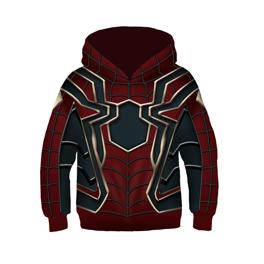 Cosplay children kids boys girls hero Spider-Man Hoodie Jacket 3D Printed Sweatshirt  Iron spider coat Christmas costumes