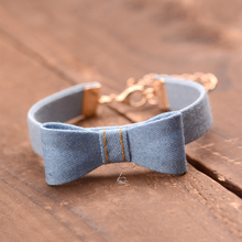 Jeans Fabric Exaggerated Bowknots Charm Bracelet Wristbands Party Hand Jewelry Girls Tassel Bracelet