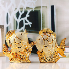 Couple Fish Golden Fashion Ornaments personalized ceramic crafts furnishings Home Decorations(China)