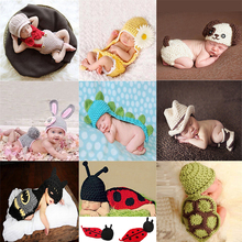 Hot! Newborn Baby Girl Boy Photography Prop Photo Crochet Knit Costume Bear +Hat Set BABY bear Costume Baby Photo Shoot Clothes(China)