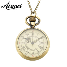 New Arrival Vintage Fashion No cover Roman Number Quartz Steampunk Pocket Watch Men's Women Xmas Gift