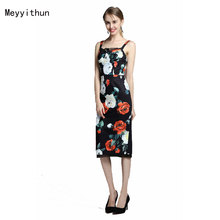 Factory wholesale Occident New Arrival Black Linen Printed Spaghetti Strap Slim Dress 170413Z01(China)