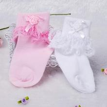 iyeal Baby Girl Socks Fashion Infant Baby Socks gifts Princess newborn cotton lace socks baby Wear kid socks 5 Pairs(China)