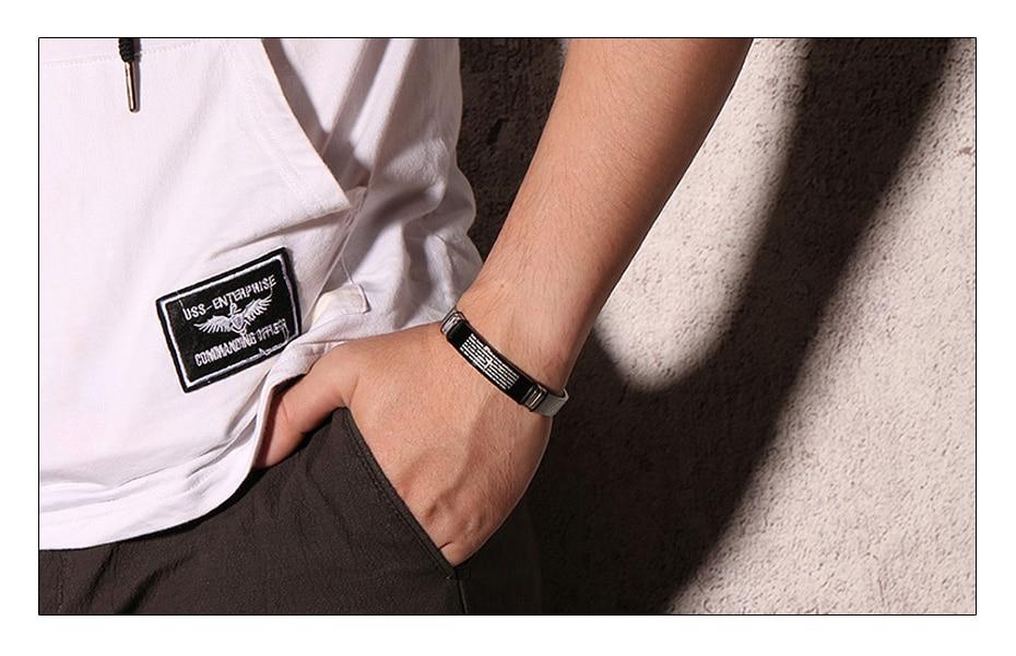 Meaeguet Stainless Steel Cross Bible Charm Bracelet Wristband For Men Adjustable Watch Bands Bracelet Christian Jewelry (2)