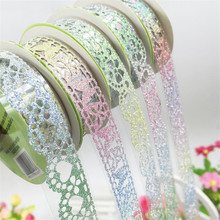 1pc 1.8cm Width 1m Length Lace Tape DIY Handmade Ribbon Craft Multicolor Ribbon Sticker for Gift Cartoon Decoration TS1947