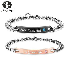 Jiayiqi 1 pcs His Queen Her King Couple Bracelets Crystal Stainless Steel Pair Bracelets Heart Crown Charm For Women Men Jewelry
