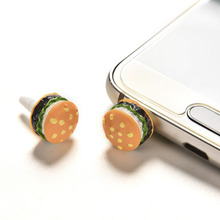 Cute Earphone Jack Dust Plug 3.5mm Universal Plastic Lovely Hamburger Anti Dust Mobile Phone Earphone Dustproof Plug Cap 2PCS