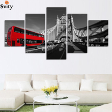 Fashion Black and white style scenery painting canvas print wall art picture for home decorations HD Bridge and red bus picture