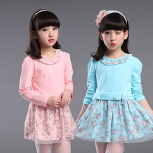 Girl Dress Long Sleeve Dree  Spring and Autumn Children's Wear Children's Lace Princess Dress 3-12 Ages