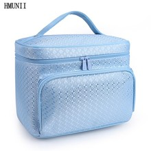 Fashion diamond lattice big cosmetic bag ladies waterproof professional bath products washing necessities travel agency cosmetic