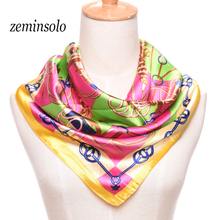 High Quality Imitted Silk Scarf Satin Square 60*60cm Scarf For Women Plaid Geometric Fashion Shawl Beautiful Scarves Women