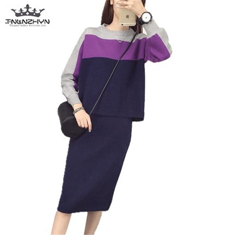 tnlnzhyn 2019 New Spring Autumn Women's 2 two Piece Set Sweater Tops And Midi Skirts Sets Casual Suits Sets Dress Y488