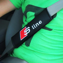 OTOKIT 2PCS/Pair Car Safety Seat Belt Cover S line RS Logo Soft Strap Protector Cover for Audi A3 A4 A5 A6 Q3 Q5 Q7 Car Styling