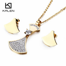 Kalen New Cheap Stainless Steel Jewelry Set For Women Italy Gold Color Rhinestone Crystal Pendant Necklace And Earrings Set