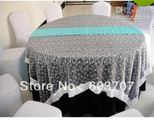 Wholesale 35cm * 275cm Blue Satin Table Runner For Free Shipping(China)