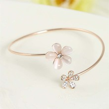 LNRRABC Cute Fashion Golden Open Bracelet Small Daisy Set drill Crystal Plated Small Fresh Charm Jewelry