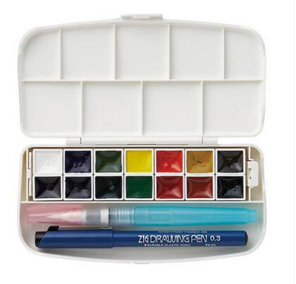 ZIG Kuretake 2017 New transparent Colors Watercolor Paints 14 Colors with Needle pen Made in Japan <br>