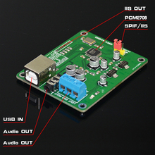 PCM2706 USB2.0 sound card USB to I2S DAC decoder amp Headphone Amplifier,support I2S and SPDIF 3.5mm audio socket analog output