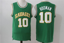 SexeMara Mens College Jersey Dennis Rodman Basketball Jerseys Rodman 10 OKLAHOMA SAVAGES White Basketball Jersey Stitched Shirts