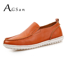 Buy AGSan handmade leather shoes men genuine leather loafers breathable elastic band slip-on mocasines hombre orange driving shoes for $30.54 in AliExpress store