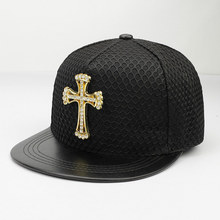 Men Women's Baseball Cap Mesh Covered Metal Logo Hip Hop Street Style Popular Cross Snapback Hats Black Red Blue Navy(China)