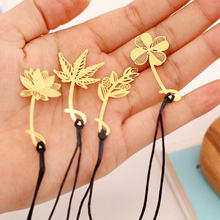 Gold Color Copper Mimosa Lotus Maple Leaf Clover Bookmark  Metal Bookmarks Stationery Office School Supplies Papeleria Book 1Pcs