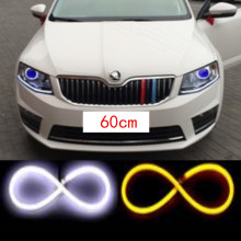 2x 60cm LED Daytime Running Light Angel Eye Changeable Turn Signal Light Parking lamp For VW POLO Golf 5 6 7  b5 b6 JETTA MK5 6