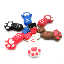 Pendrives Cat Paw Pen Drive Tiny Footprint USB Flash Drive 4gb 8gb 16gb 32gb Flash Memory Stick Flash Card U disk with chain(China)