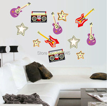 [Fundecor] removable creative music wall sticker bedroom music room decor decals art Guitar Sound 6673