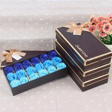 18pcs Scented Soap Rose flower Essential Oil Set with Gift Box romantic Lover Valentine's Day Wedding Gifts Body Bath Flowers(China)