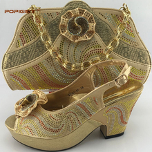 Gold Free Shipping by DHL Elegant African Woman Pumps Matching Bag Latest Italian Shoes And Bag Set On Sale