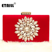 ETAILL Luxury Designer Diamond Flowers Evening Bag Red Black Velour Clutch Purse Wedding Bride Party Hand Bag Chain Shoulder Bag(China)