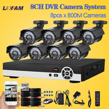 LOFAM home CCTV System 8ch Outdoor Waterproof Security Camera System 8 Channel AHD-L 960H DVR CCTV camera video surveillance kit
