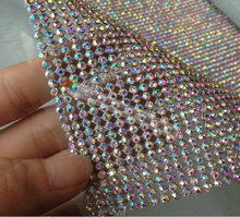 3mm Aluminum Iron on Hotfix Crystal AB rhinestone mesh trim Gold Silver Base For DIY Wedding Dress Bags Shoes Cake Furniture