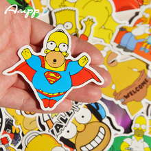 25 pcs The Homer Simpson Cartoon PVC Toys Cool Stickers For Children Luggage Notebook Laptop iPhone Sticker Bomb Car-Styling