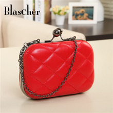 Free shipping Best design High quality ling plaid Evening bag PU leather Messengerbag lady Chain Shoulderbag Totes HBF08