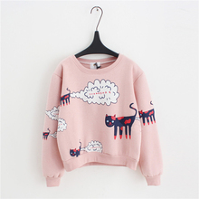 2016 New Spring AutumnSweatshirt Women Tops Plus Size Loose Casual Plus Thick Velvet Cartoon Cat Pattern Sweatshirts Pullovers