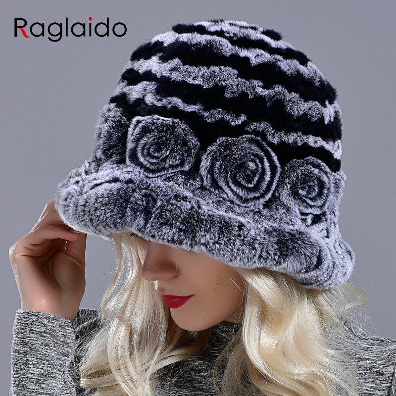 Bucket hats for women winter rabbit fur hat causal warm knitted caps for girls female fashion outdoor large ladies volume hats
