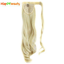 "MapofBeauty long curly hair Paste ponytail hair extensions 20"" 50cm Heat Resistant black blonde ombre 15 Colors synthetic wigs"