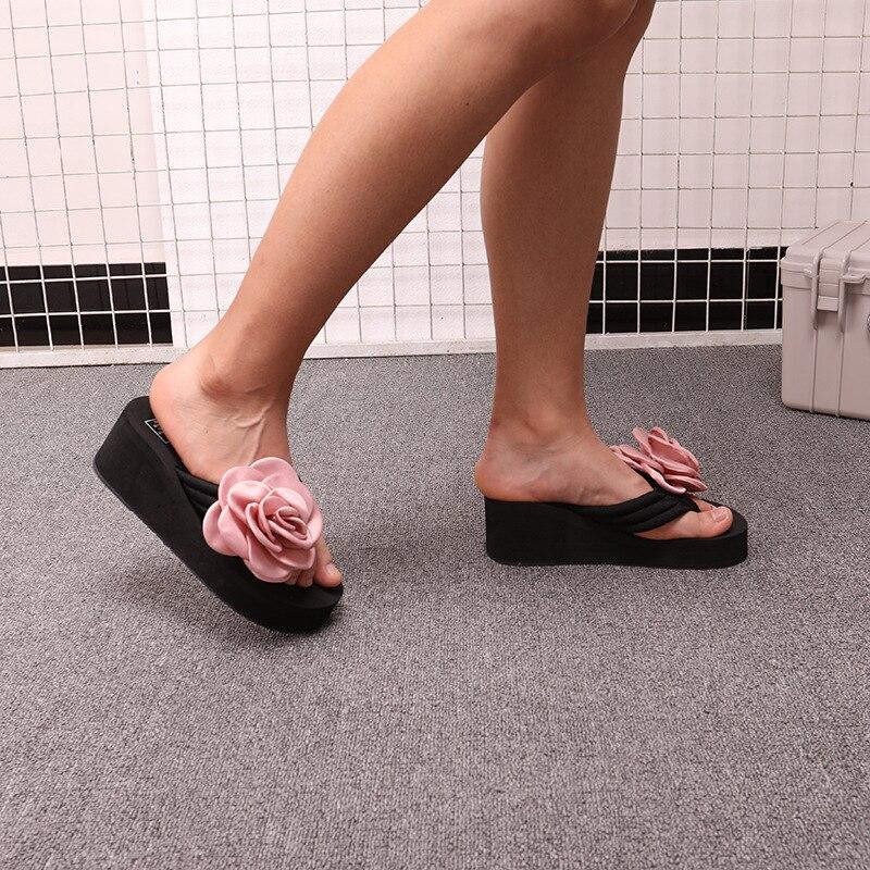 Pantoufles,Kinlene Femmes Filles Coins Floral Tongs Sandales Pantoufles Chaussures de Plage Chaussures de Plage Sandales Compens/éEs pour Femmes avec Pieds Fleuris
