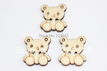 Free Shipping 150pcs/19*17mm Original Wood Color Little Bear Wooden Cabochon Bead Wood Button For Children's Christmas Gift Diy(China)