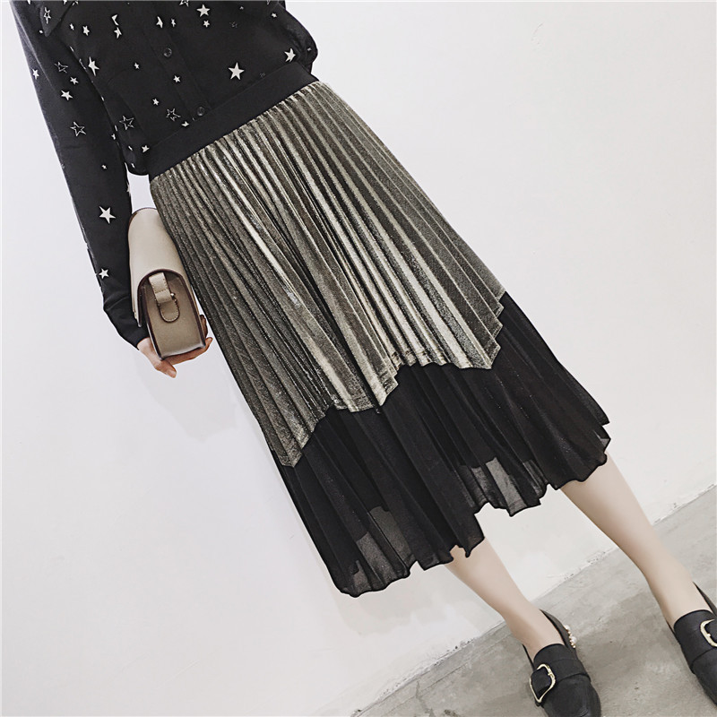 [GUTU] Autumn Summer 2018 Korean New Fashion Patchwork Color Bottoms All-match Elastic Waist Pleated Skirt Loose Women F89201 25