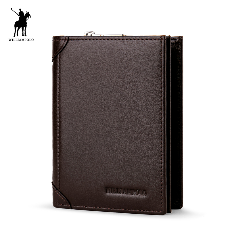 WILLIAMPOLO 2018 Cowhide Leather Men Wallet Short Coin Purse Small Vintage Wallet Brand High Quality Designer Wallet POLO279<br>