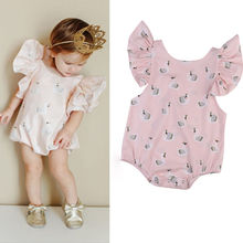 Pudcoco Newborn Kids Baby Girl Infant Pink Swan Romper Jumpsuit Clothes Outfits