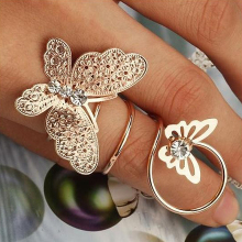 New Fashion Vintage Exaggerated Winding finger Rings Gold color Crystal Rhinestone Small Big Butterfly Rings For Women gift