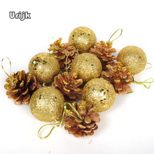 Urijk 12pcs New Year Festival Tree Hanging Pine cone Ball Tree Christmas Decorations for Home Party Ornament Supplies Gifts
