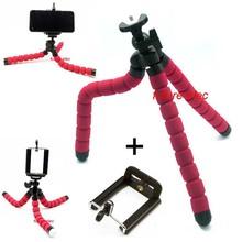 Red Octopus Leg Rubber Feet Flexible Tripod Bracket Stand + Cell Phone Holder Clamp for iPhone Samsung Nokia Mi Coolpad Lenovo..