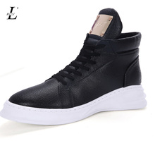Brand Luxury Running Shoes For Mens PU Leather Breathable High Top Sports Shoes Flats Black White Students Sneakers Winter