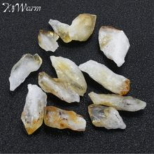 KiWarm 12pcs Newest Citrine Stone Yellow Quartz Crystal Rough Points Bulk Gemstone Healing Mineral DIY Material 15mm-30mm(China)